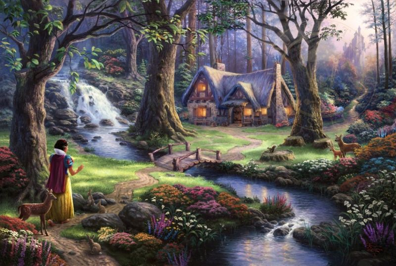 These incredible Disney paintings by Thomas Kinkade tells the entire story in one image, he is inspired by historic documents from the Disney archives, movies, and art.